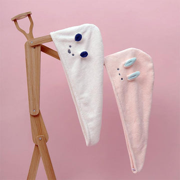Modakawa Towels Bunny Ears Cartoon Hair Drying Towels Cap