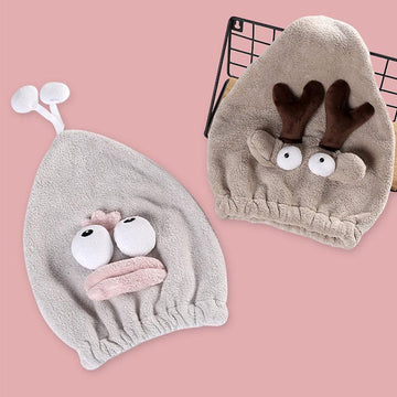 Modakawa Towels Cartoon Animal Eyes Hair Drying Towels Cap