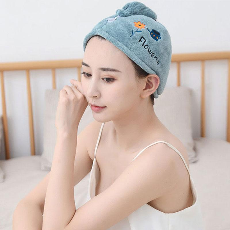 Modakawa Towels Cartoon Letter Embroidery Hair Drying Towels Cap