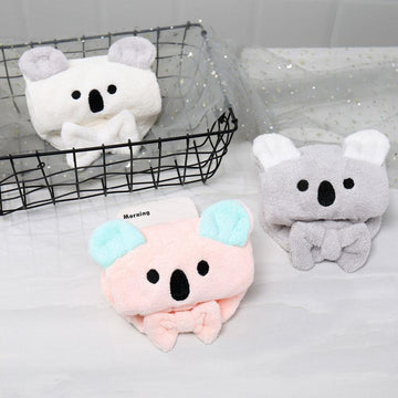 Modakawa Towels Koala Bow Hair Drying Towels Cap