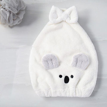 Modakawa Towels White / 35 x 26 cm Koala Bow Hair Drying Towels Cap
