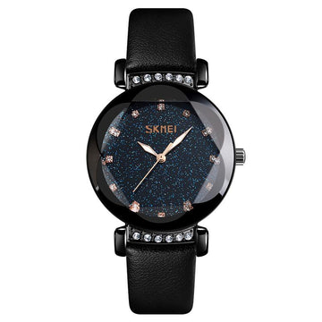 Modakawa Watch Black Leather Starry Sky Quartz Watch 9188