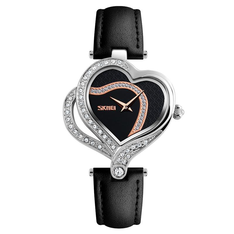 Modakawa Watch Black Love Heart Rhinestone Quartz Watch 9161