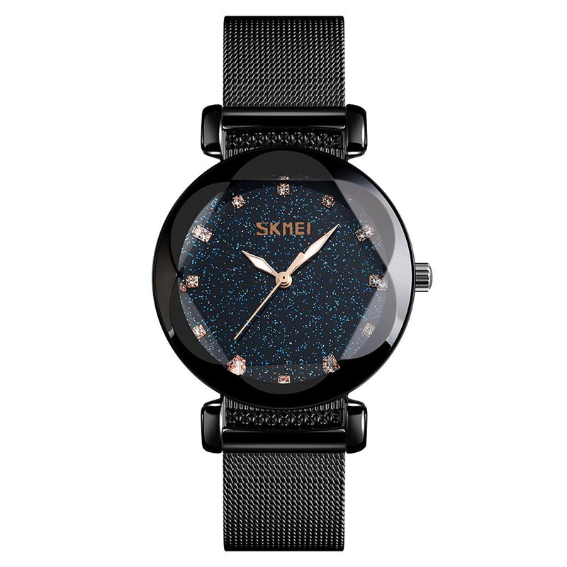 Modakawa Watch Black Steel Starry Sky Quartz Watch 9188