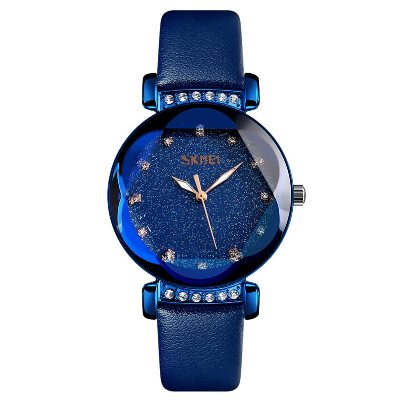 Modakawa Watch Blue Leather Starry Sky Quartz Watch 9188