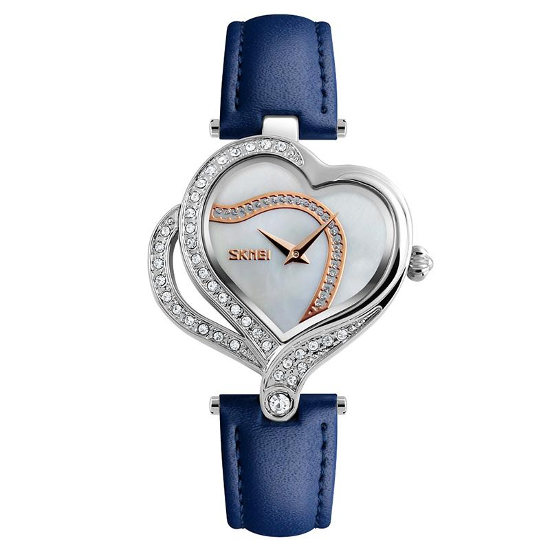Modakawa Watch Blue Love Heart Rhinestone Quartz Watch 9161