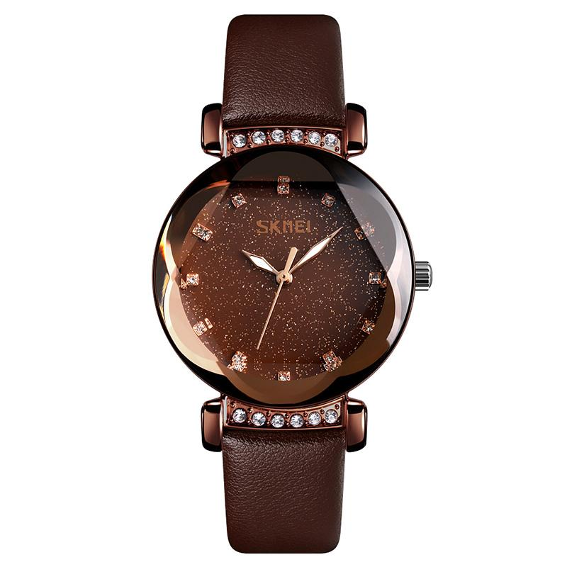 Modakawa Watch Coffee Gold Leather Starry Sky Quartz Watch 9188