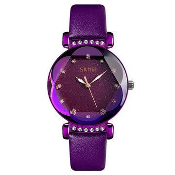 Modakawa Watch Purple Leather Starry Sky Quartz Watch 9188