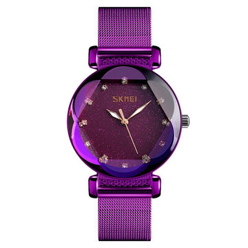 Modakawa Watch Purple Steel Starry Sky Quartz Watch 9188