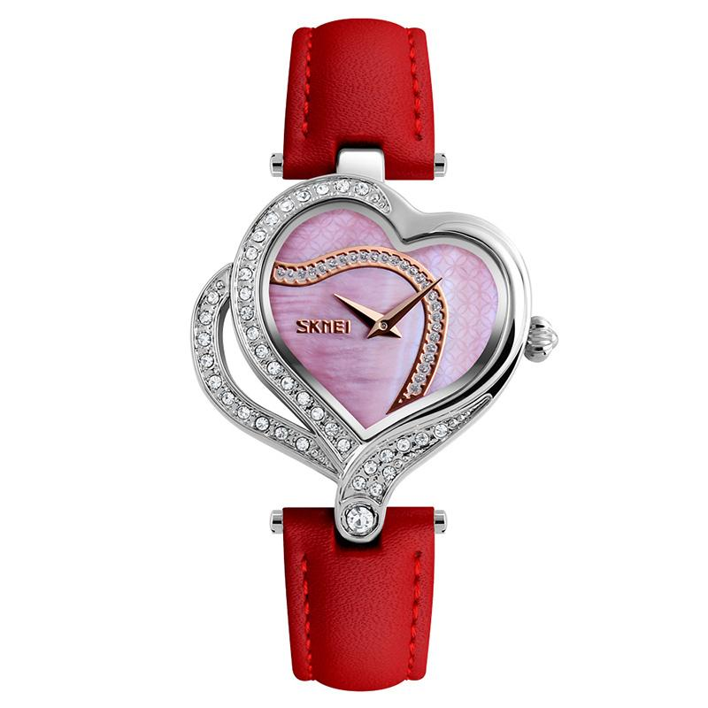 Modakawa Watch Red Love Heart Rhinestone Quartz Watch 9161