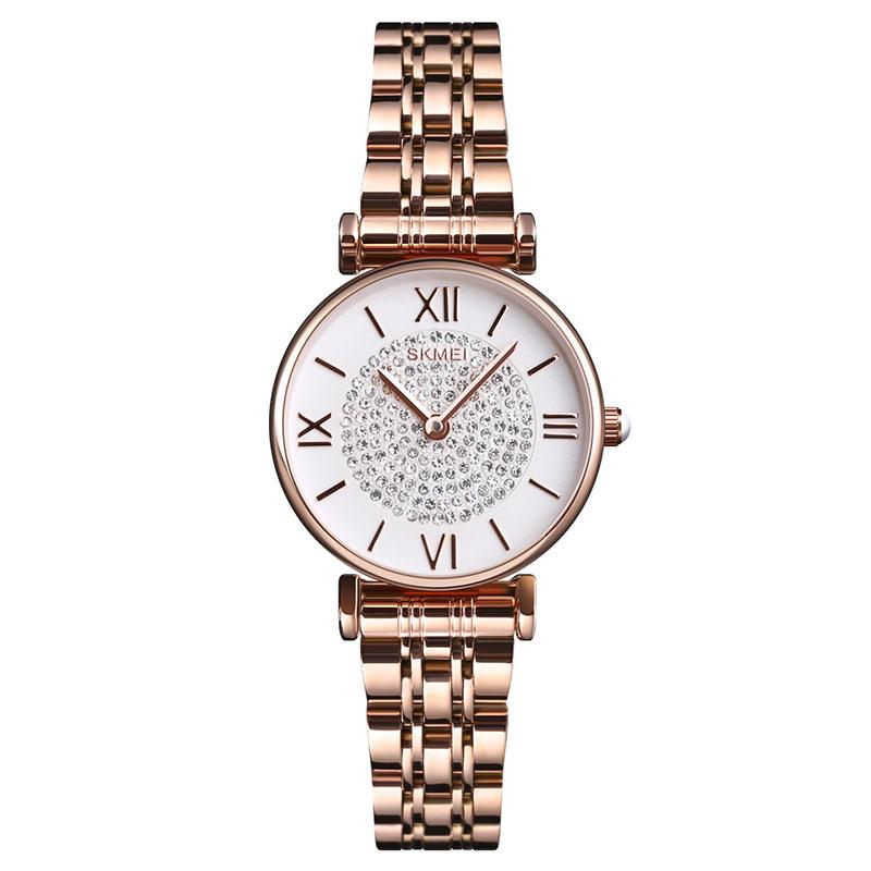 Modakawa Watch Rose Gold Elegant Rhinestone Quartz Watch 1533