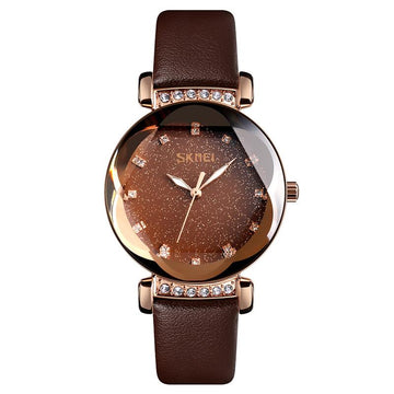 Modakawa Watch Rose Gold Leather Starry Sky Quartz Watch 9188
