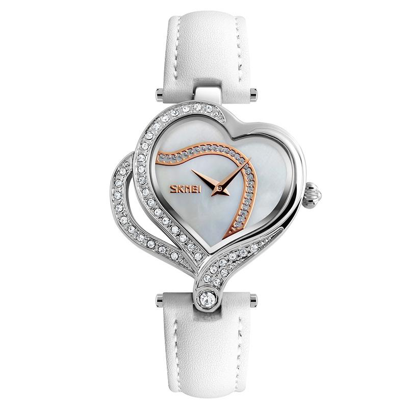 Modakawa Watch White Love Heart Rhinestone Quartz Watch 9161
