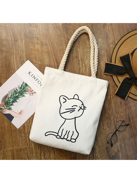 Modakawa White 1 Kawaii Cartoon Cat Canvas Shopping Tote Bag
