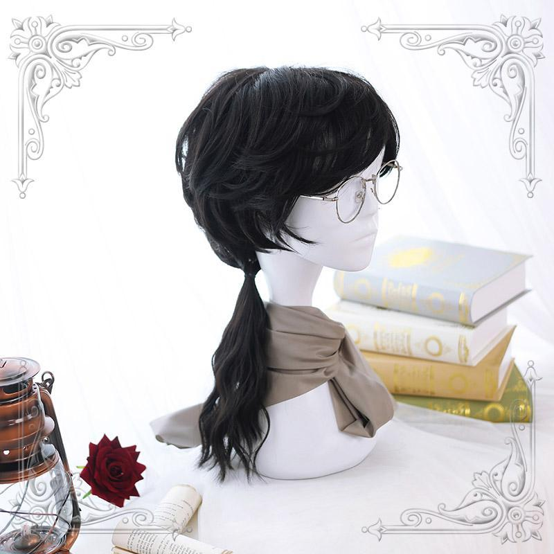 Modakawa Wig Black Men Long Curly Cosplay Wig