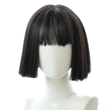 Modakawa Wig Black Sweet Bobo Short Wig With Bangs