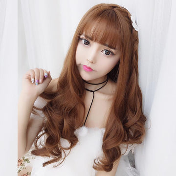 Modakawa Wig Brown Big Wavy Long Curly Wig