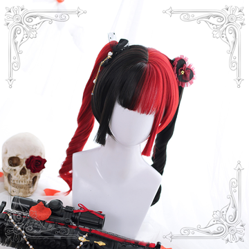 Modakawa Wig C Long Curly Halloween Costume Cosplay Red Black Wig