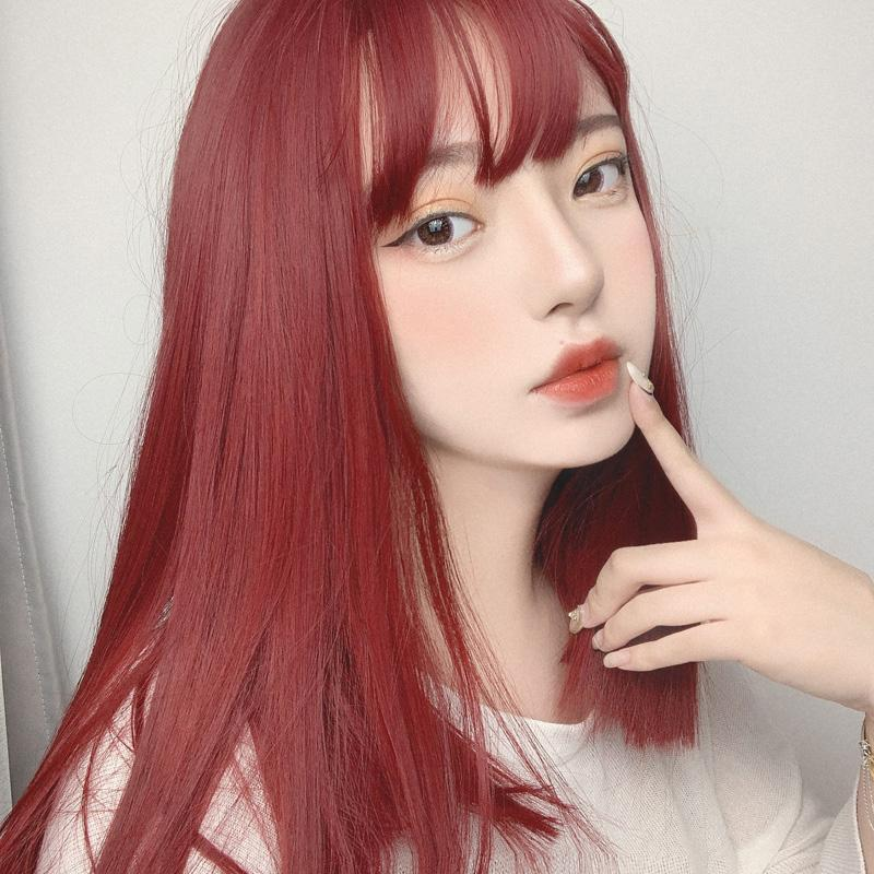 Modakawa Wig Chic Long Straight Wig With Air Bangs