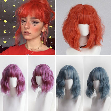 Modakawa Wig Chic Short Curly Wig With Air Bangs