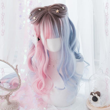 Modakawa Wig Gradient Color Long Curly Wig With Bangs