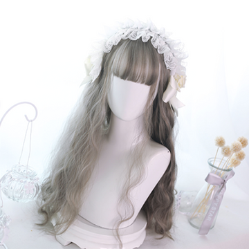 Modakawa Wig Gray Kawaii Lolita Long Curly Wig