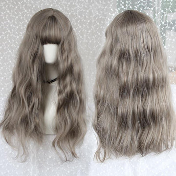 Modakawa Wig Gray Vintage Wool Long Curly Wig