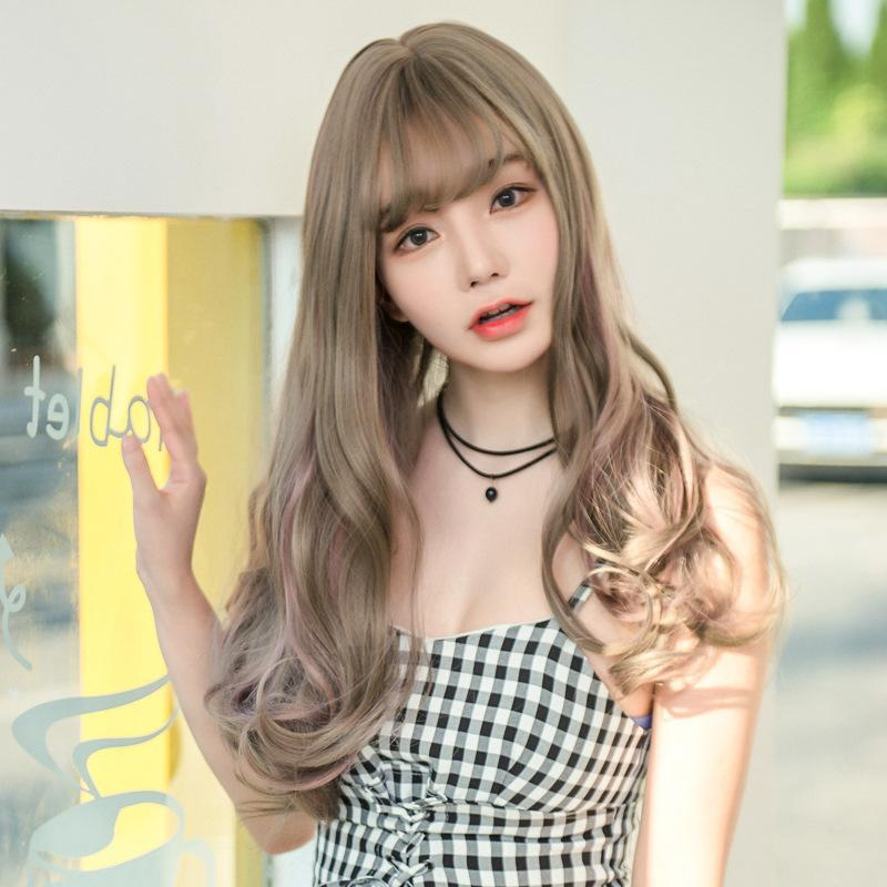 Modakawa Wig Grey Long Curly Hair Highlight Wig
