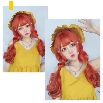 Modakawa Wig Harajuku Long Curly Cos Wig With Bangs
