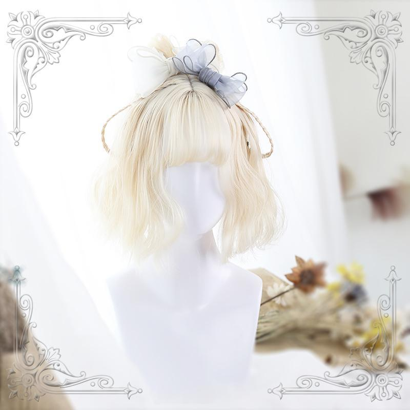 Modakawa Wig Lolita Curly Short Wig With Air Bangs