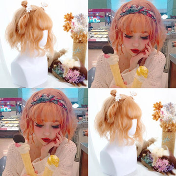 Modakawa Wig Lolita Short Curly Wig With Air Bangs