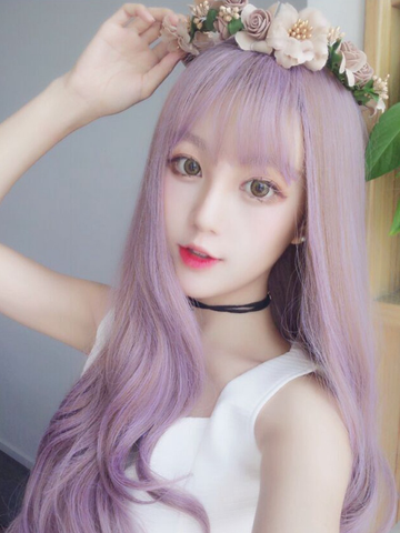 Modakawa Wig Lolita Toon Purple Long Curly Wig
