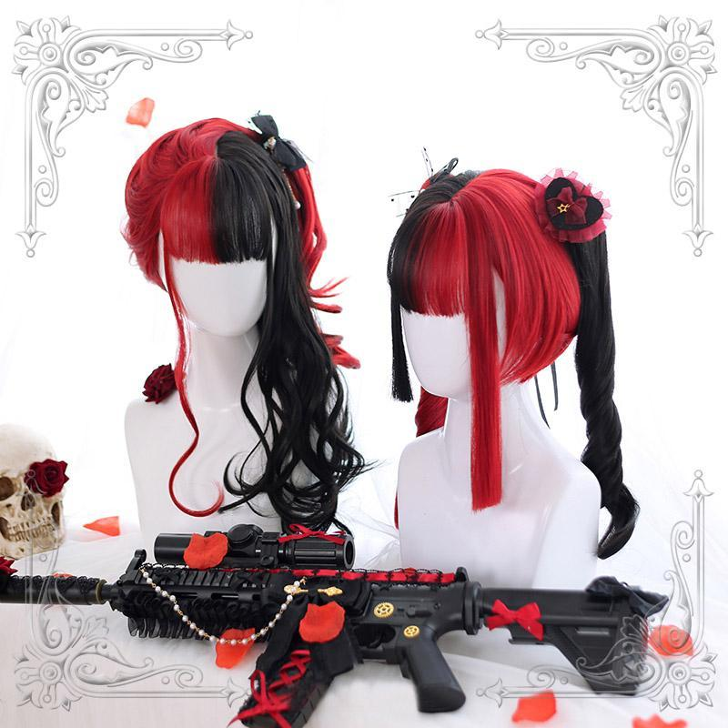 Modakawa Wig Long Curly Halloween Costume Cosplay Red Black Wig