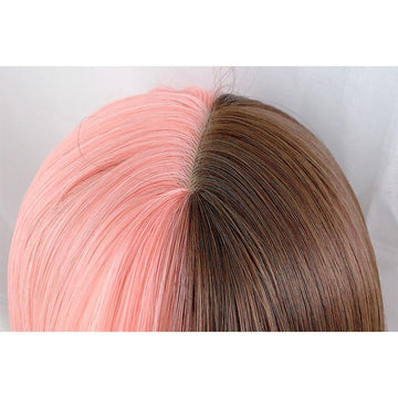 Modakawa Wig Pink & Brown / One Size Long Straight Pink Brown Wig