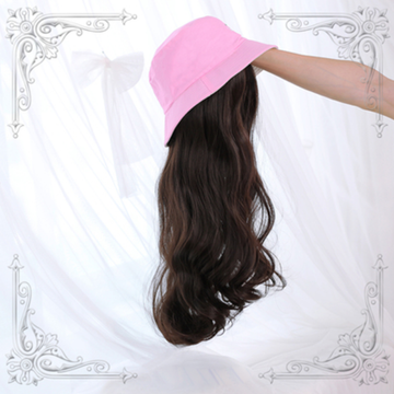Modakawa Wig Pink Hat & Brown A Wig / One Size Sweet Long Curly Wig Hair Bucket Hat