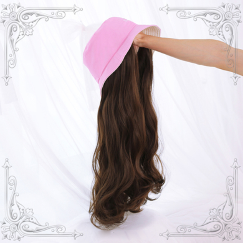 Modakawa Wig Pink Hat & Brown B Wig / One Size Sweet Long Curly Wig Hair Bucket Hat