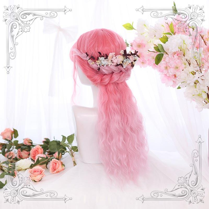 Modakawa Wig Pink / One Size Long Wavy Wig Party Halloween Cosplay Pink