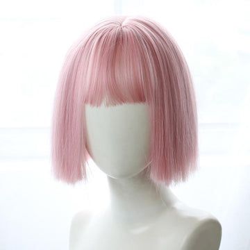 Modakawa Wig Pink Sweet Bobo Short Wig With Bangs