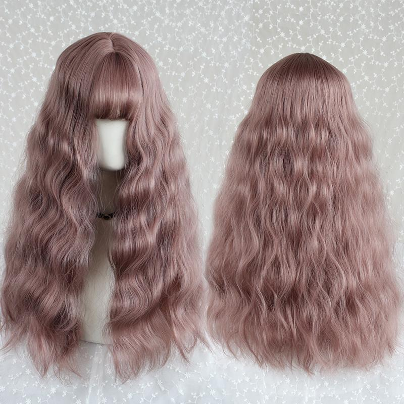 Modakawa Wig Pink Vintage Wool Long Curly Wig