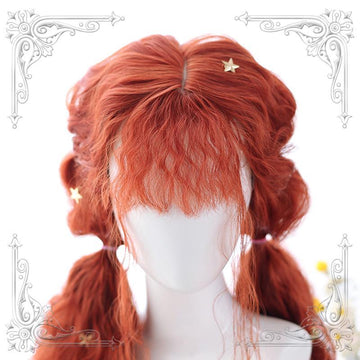 Modakawa Wig Red / One Size Halloween Cosplay Sweet Long Wavy Ponytails Wig