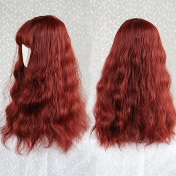 Modakawa Wig Red Vintage Wool Long Curly Wig