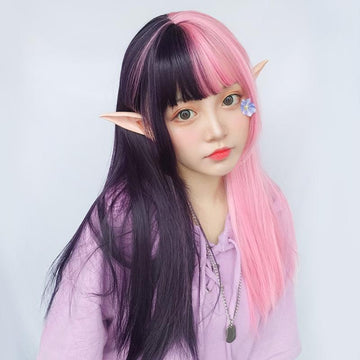 Modakawa Wig Retro Gothic Long Straight Pink Black Wig