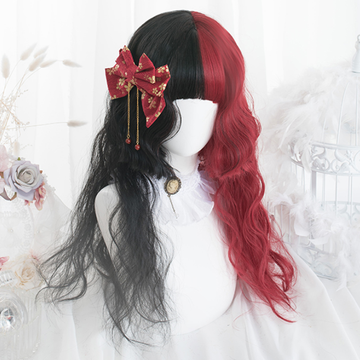 Modakawa Wig Straight Curly Hime Cut Ponytails Red Black Wig