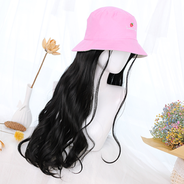 Modakawa Wig Sweet Long Curly Wig Hair Bucket Hat
