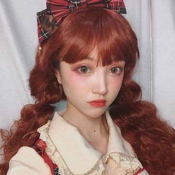Modakawa Wig Vintage Wool Long Curly Wig