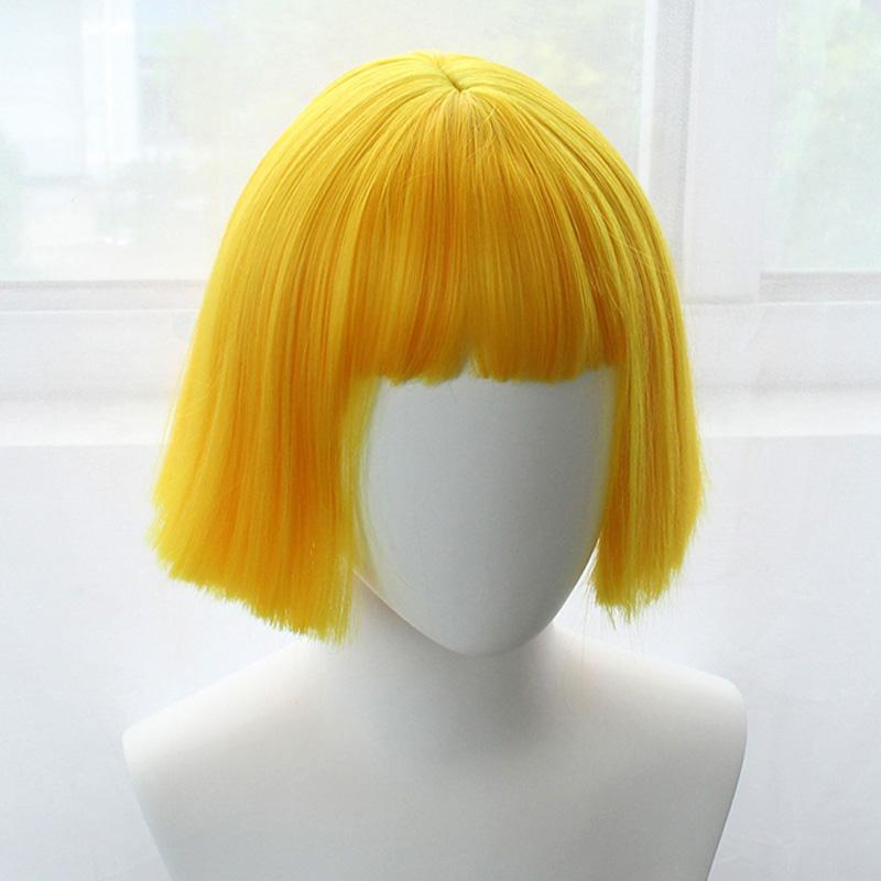Modakawa Wig Yellow Sweet Bobo Short Wig With Bangs