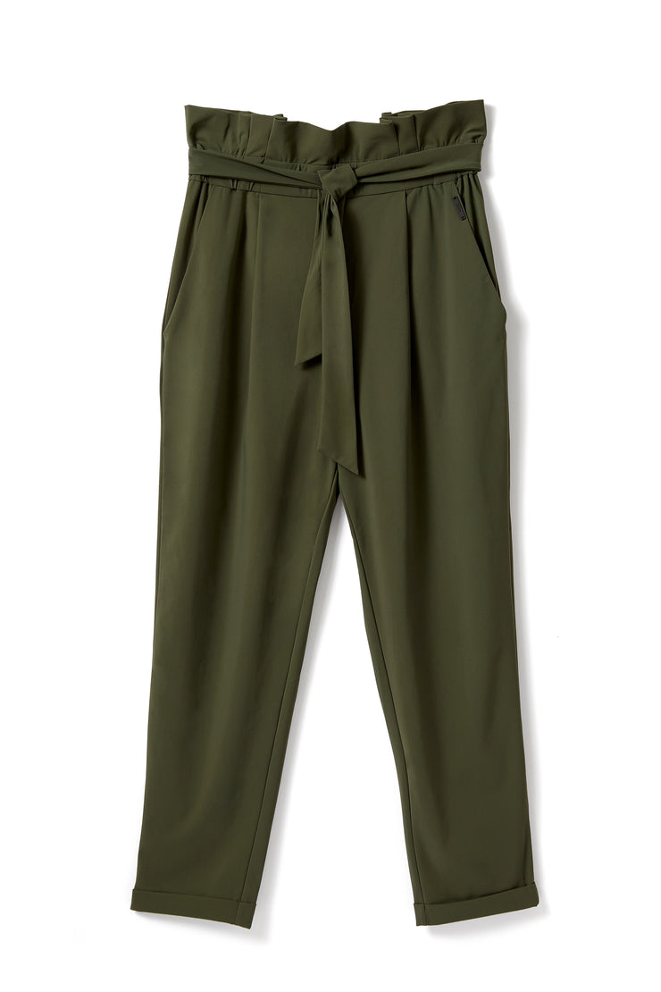 PAPER BAG PANT IN OLIVE GREEN