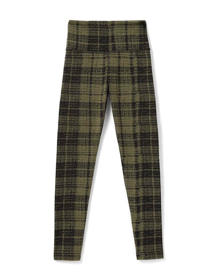 PLAID LEGGING IN OLIVE GREEN