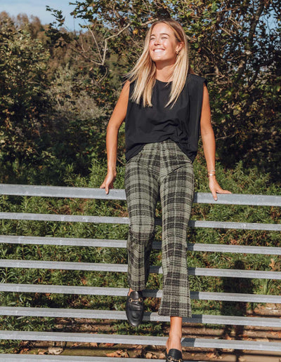 OLIVE GREEN PLAID KICK FLARE PANTS