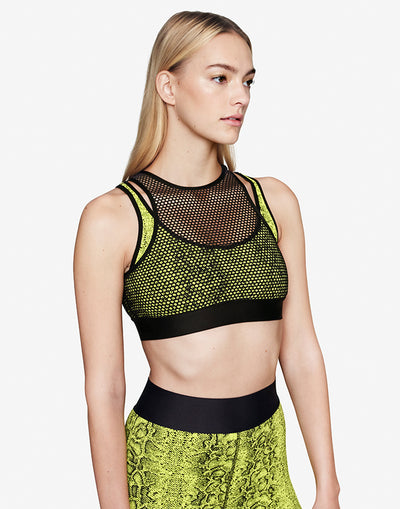 Yellow Snake Mesh Bra